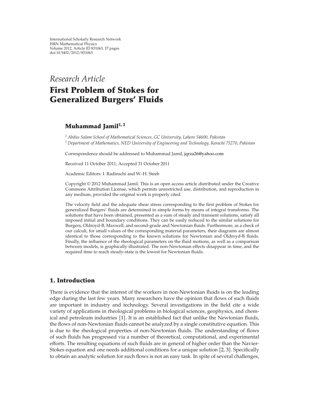 First Problem of Stokes for Generalized Burgers' Fluids – topic of