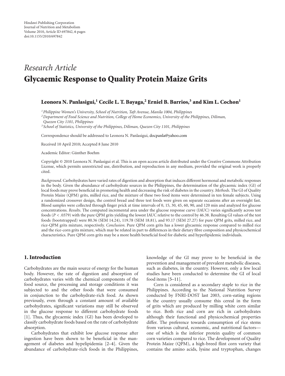 Glycaemic Response To Quality Protein Maize Grits Topic Of Research Paper In Health Sciences Download Scholarly Article Pdf And Read For Free On Cyberleninka Open Science Hub