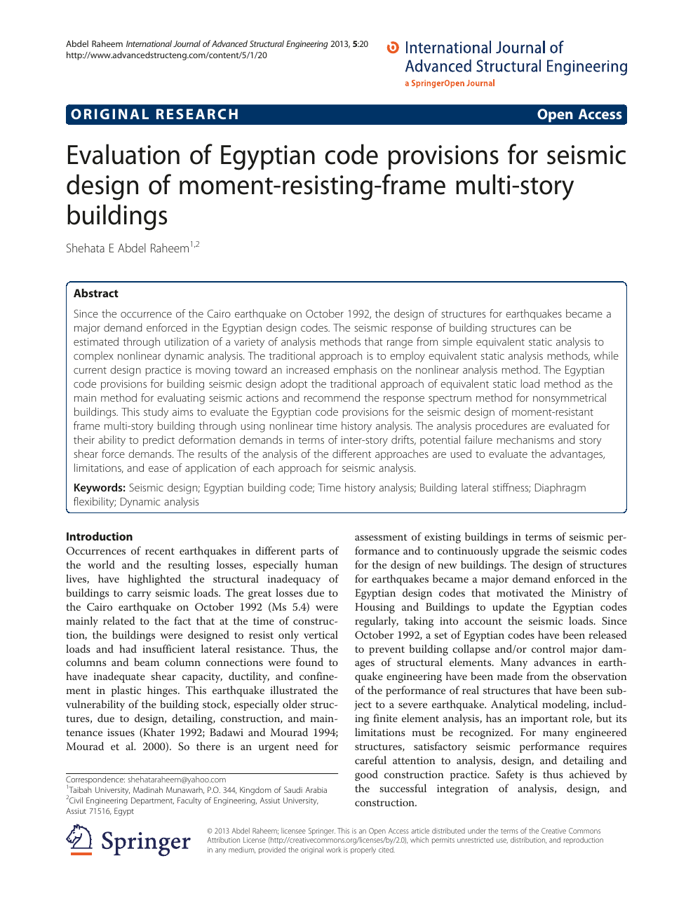Evaluation of Egyptian code provisions for seismic design of