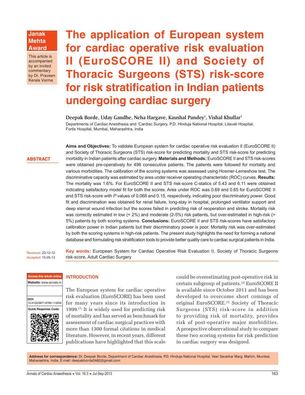 The Application Of European System For Cardiac Operative Risk Evaluation Ii Euroscore Ii And Society Of Thoracic Surgeons Sts Risk Score For Risk Stratification In Indian Patients Undergoing Cardiac Surgery Topic Of