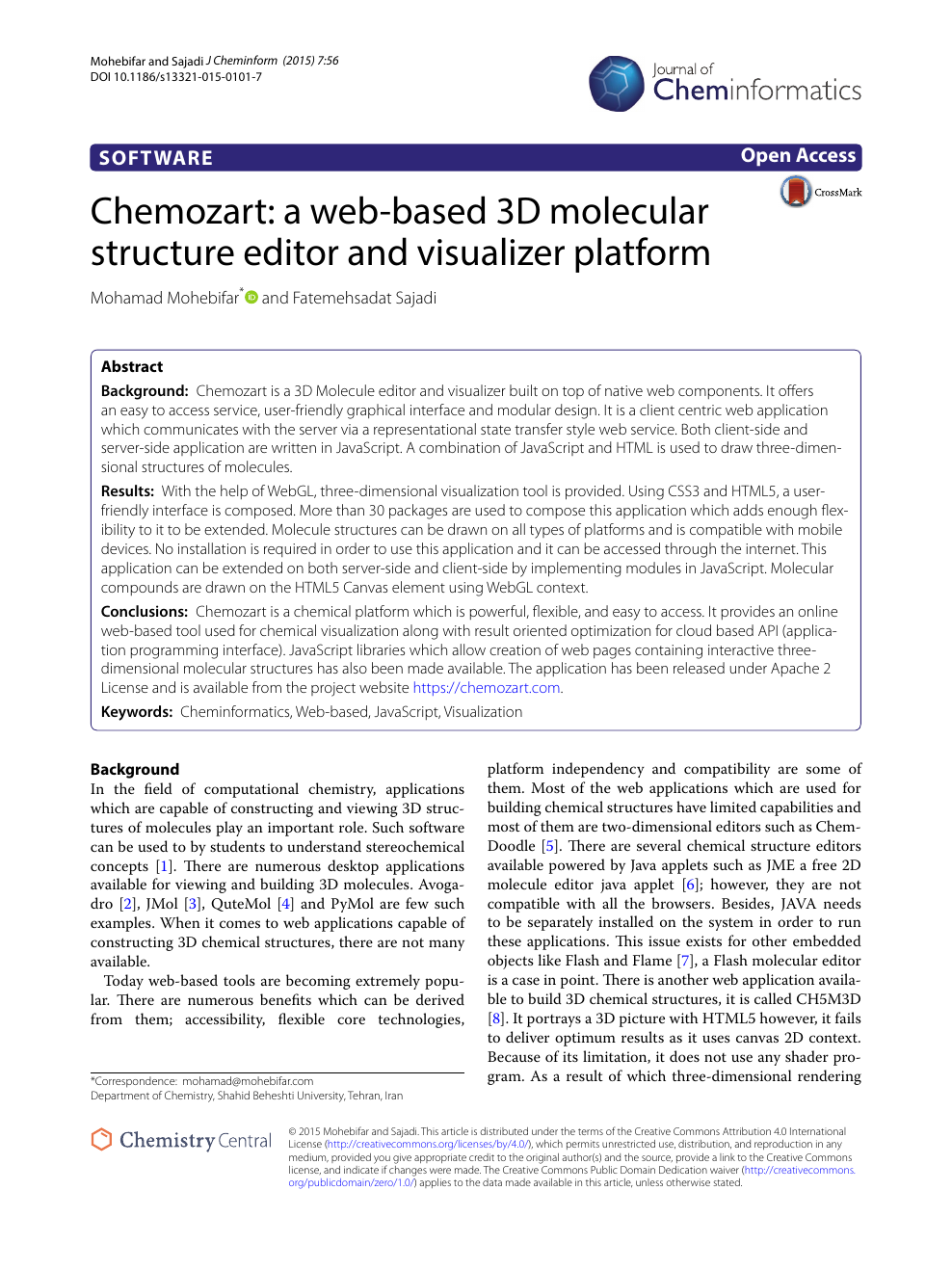 Chemozart: a web-based 3D molecular structure editor and