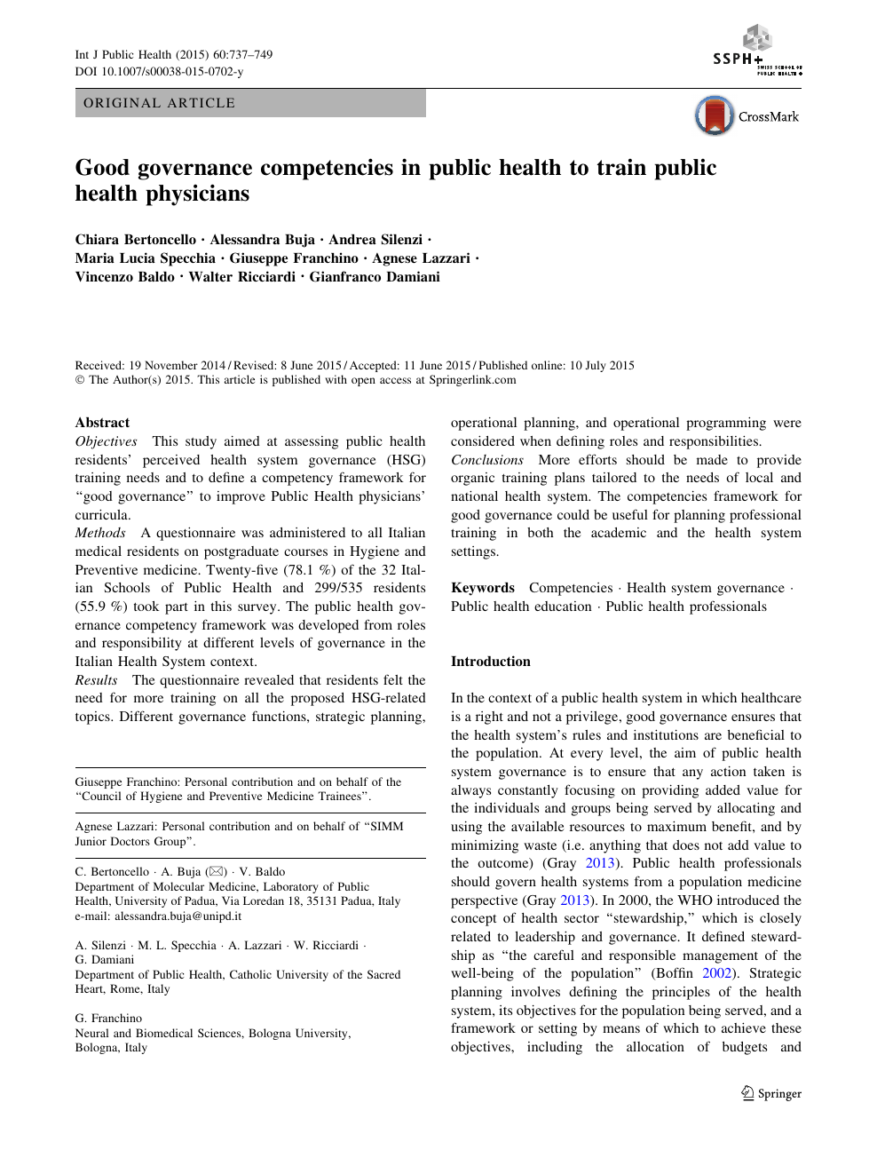 Good governance competencies in public health to train