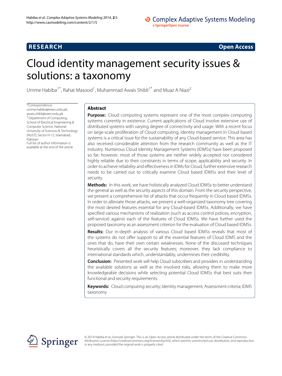 Cloud identity management security issues & solutions: a taxonomy