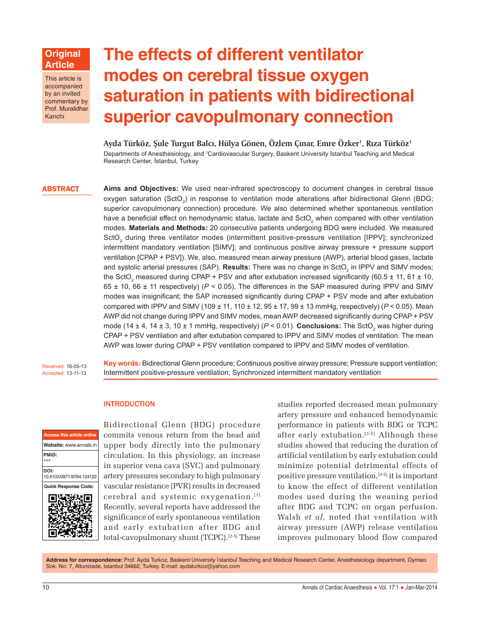 The Effects Of Different Ventilator Modes On Cerebral Tissue Oxygen Saturation In Patients With Bidirectional Superior Cavopulmonary Connection Topic Of Research Paper In Medical Engineering Download Scholarly Article Pdf And Read