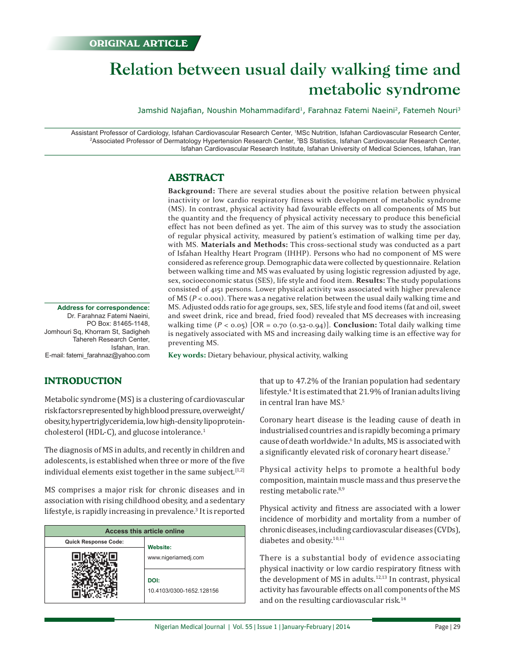 Relation between usual daily walking time and metabolic syndrome