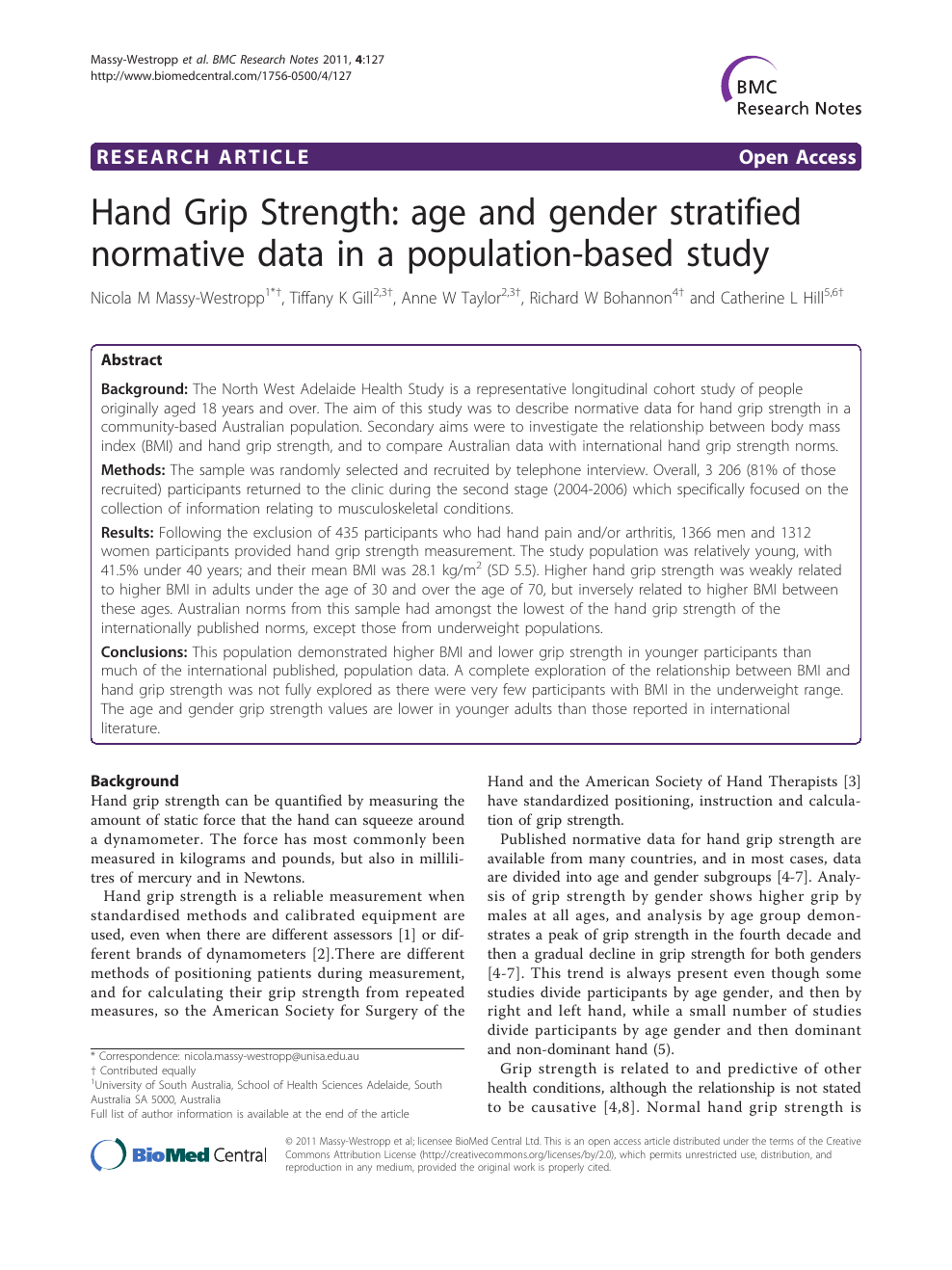 Hand Grip Strength: age and gender stratified normative data