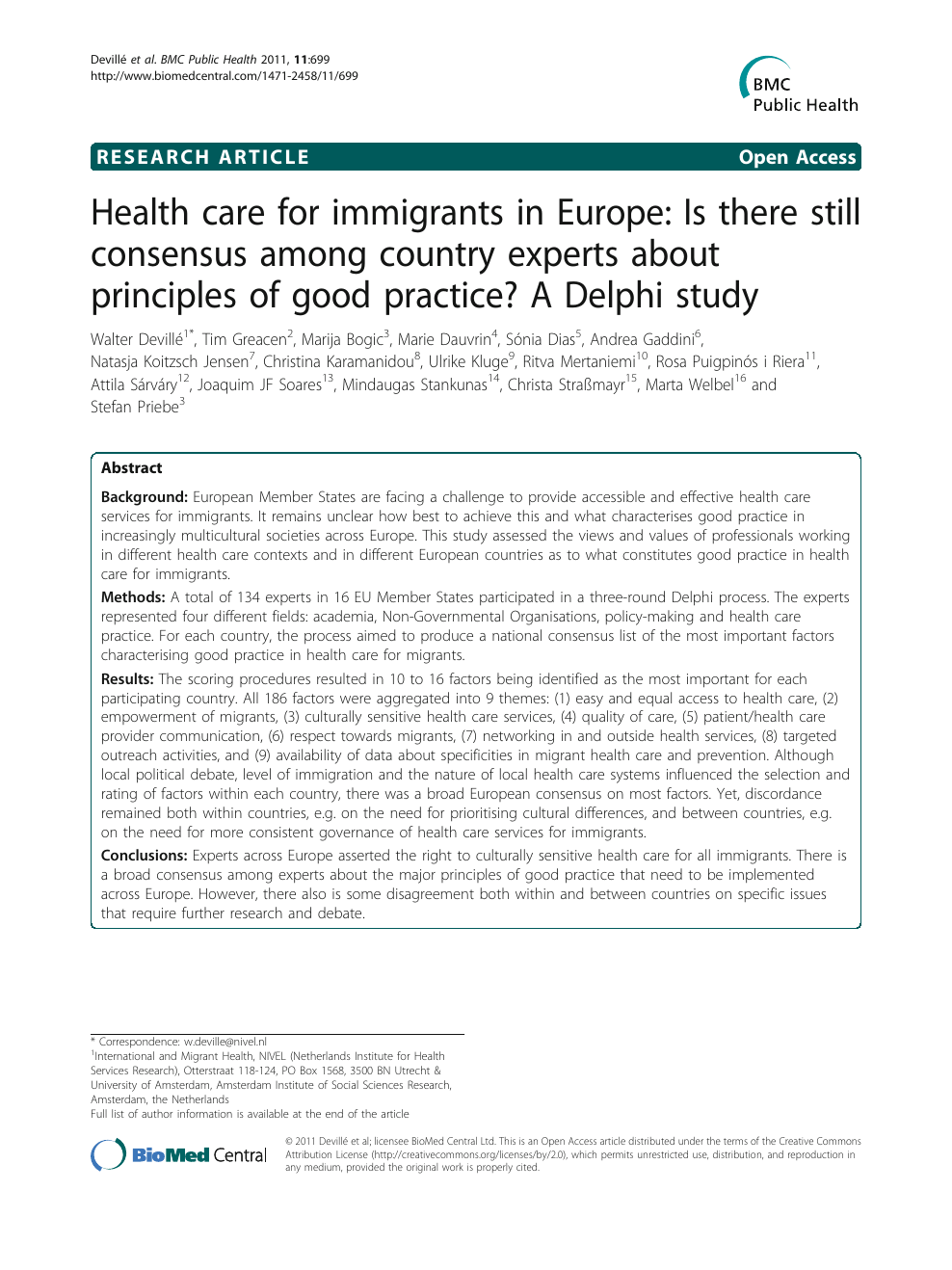 Health care for immigrants in Europe: Is there still consensus among