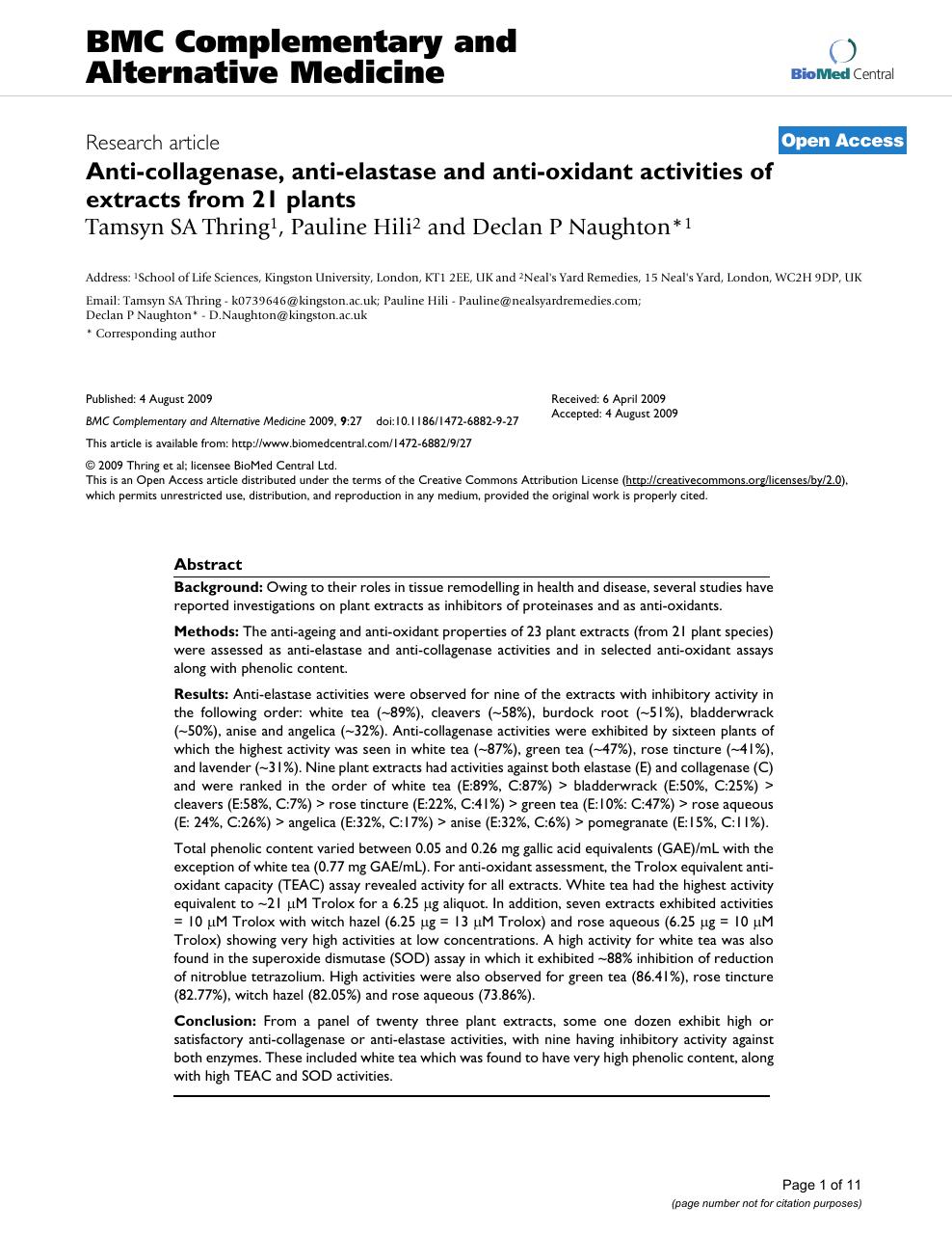 Anti-collagenase, anti-elastase and anti-oxidant activities