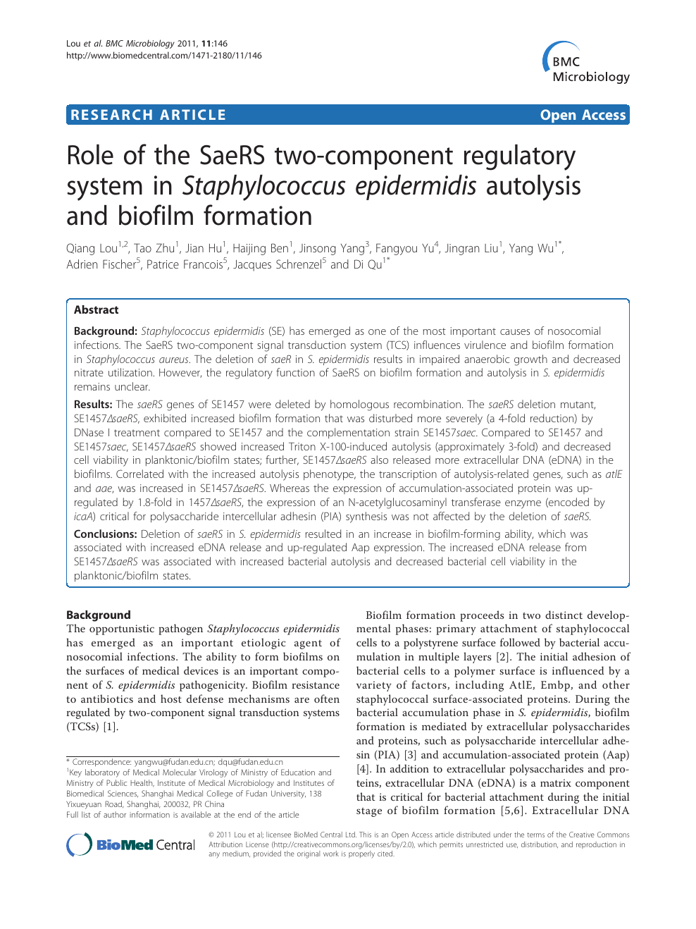 Role of the SaeRS two-component regulatory system in Staphylococcus