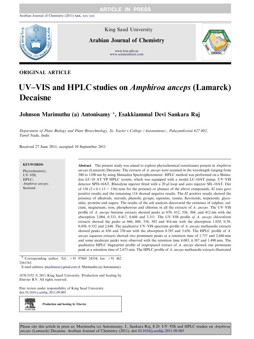 UV–VIS and HPLC studies on Amphiroa anceps (Lamarck) Decaisne