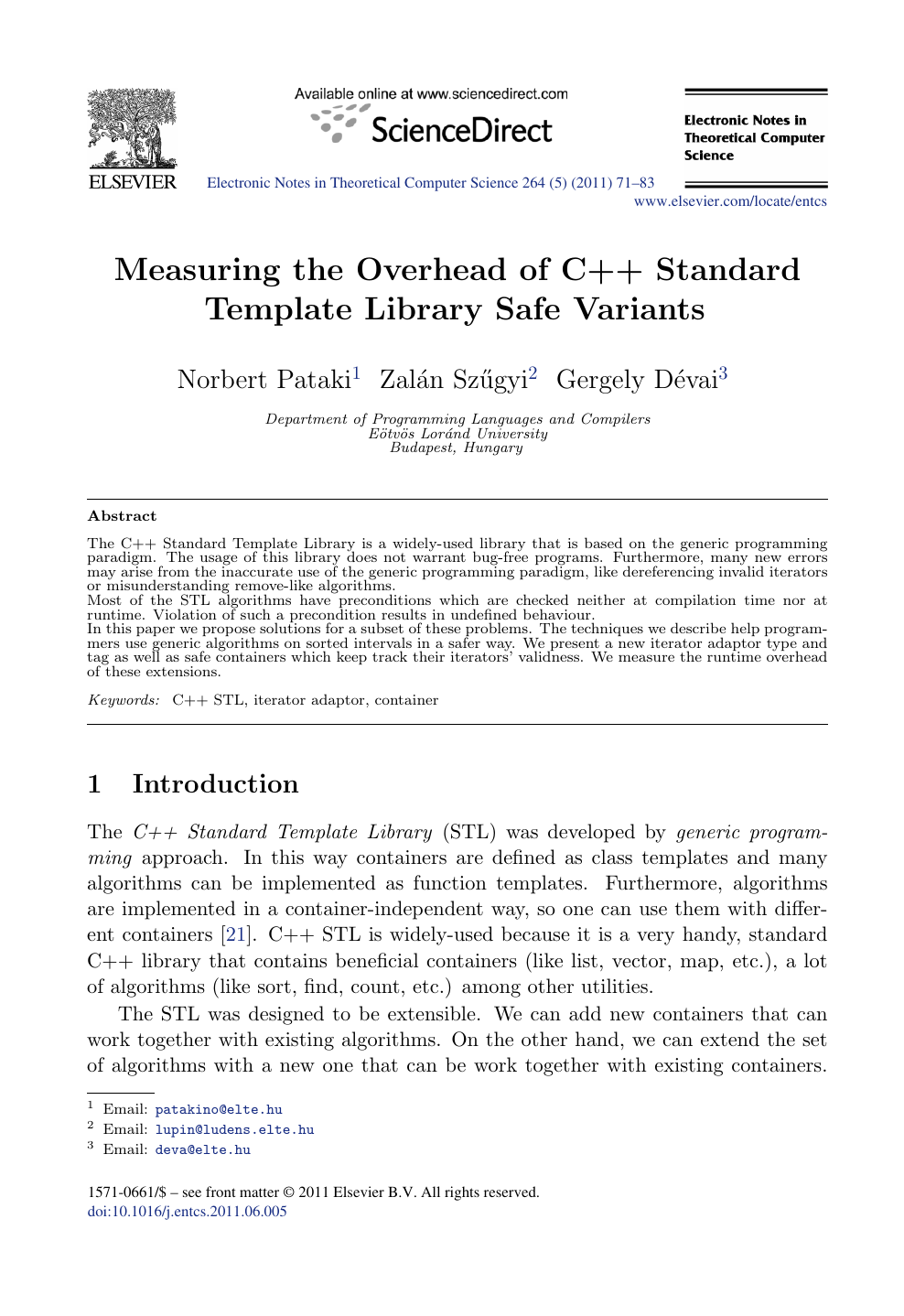 Measuring The Overhead Of C Standard Template Library Safe