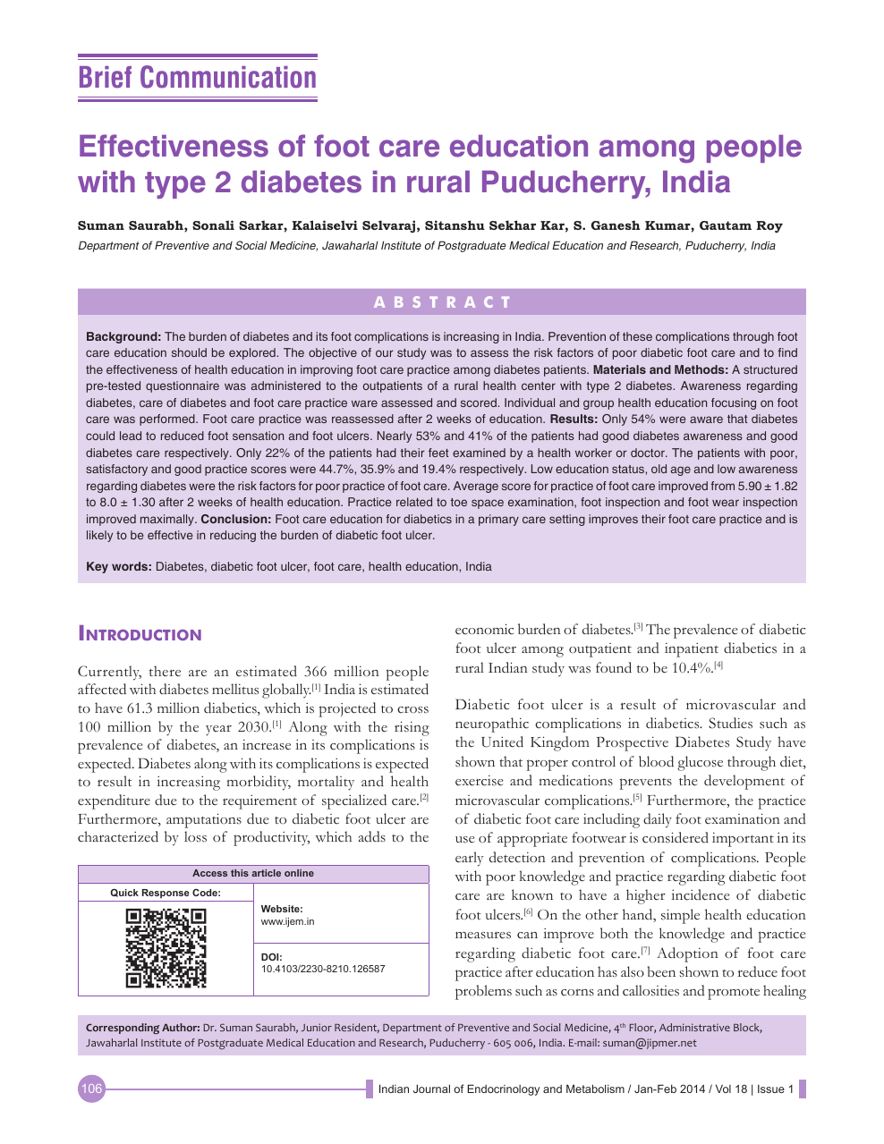 Effectiveness of foot care education among people with type 2