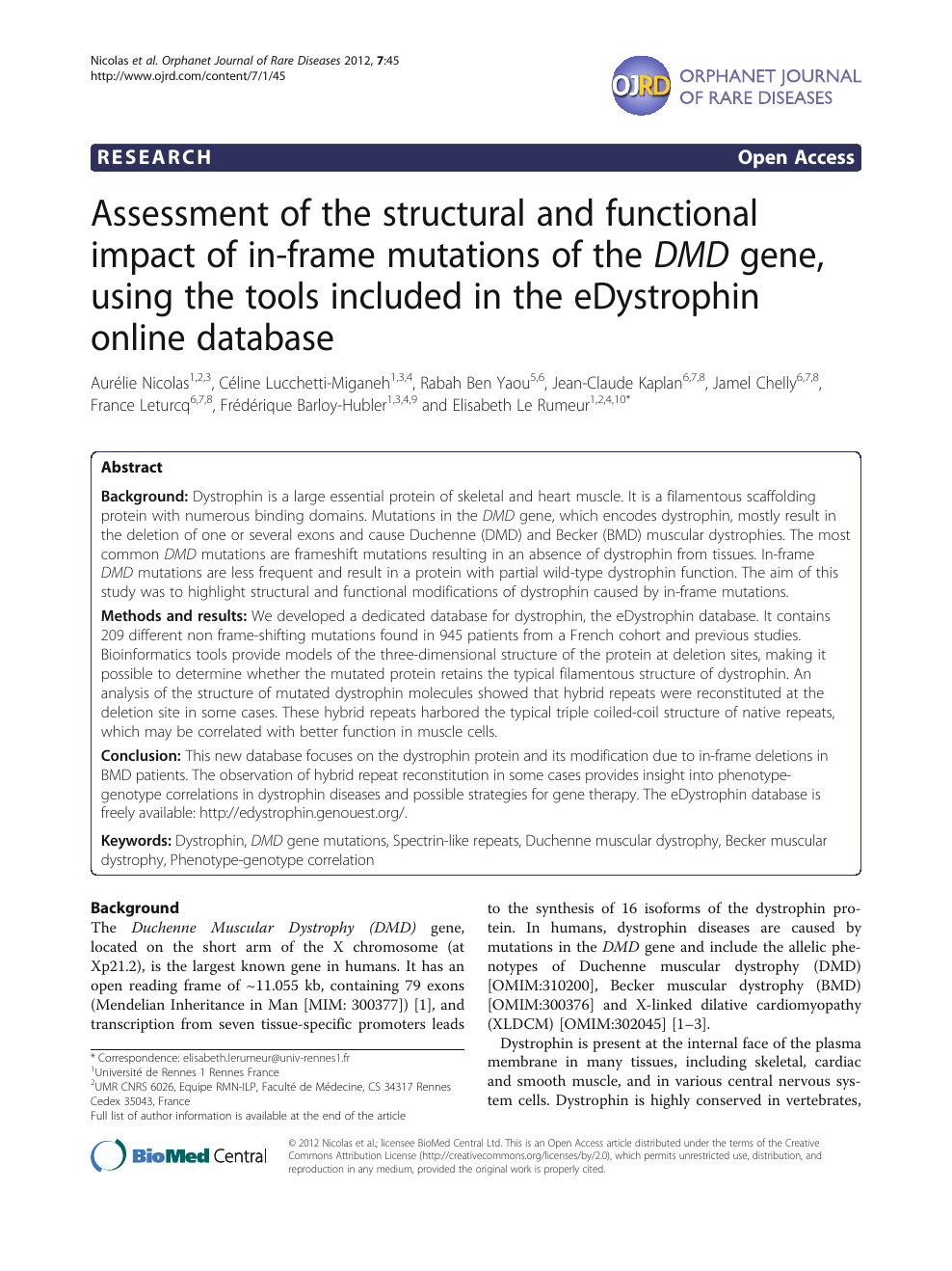 Assessment of the structural and functional impact of in