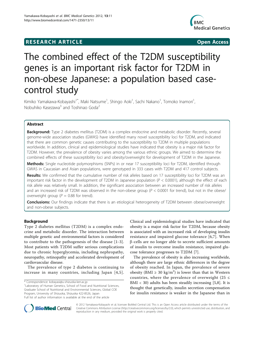 The combined effect of the T2DM susceptibility genes is an
