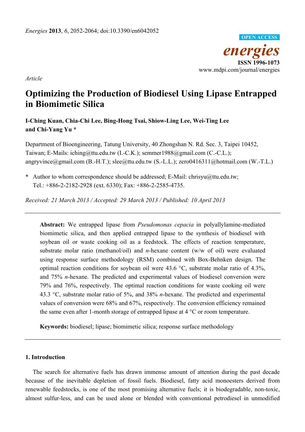 Optimizing the Production of Biodiesel Using Lipase