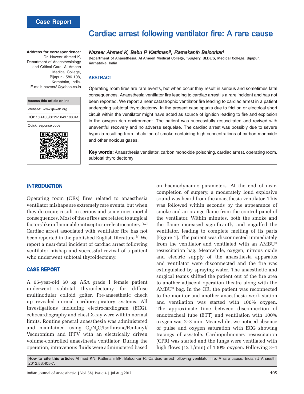 Cardiac arrest following ventilator fire: A rare cause – topic of research  paper in Clinical medicine. Download scholarly article PDF and read for  free on CyberLeninka open science hub.