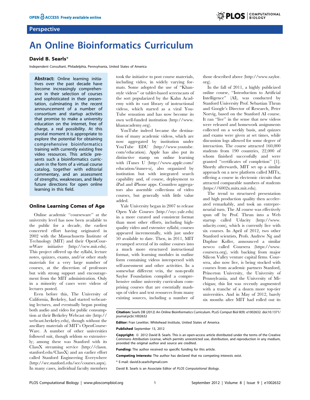 An Online Bioinformatics Curriculum – topic of research
