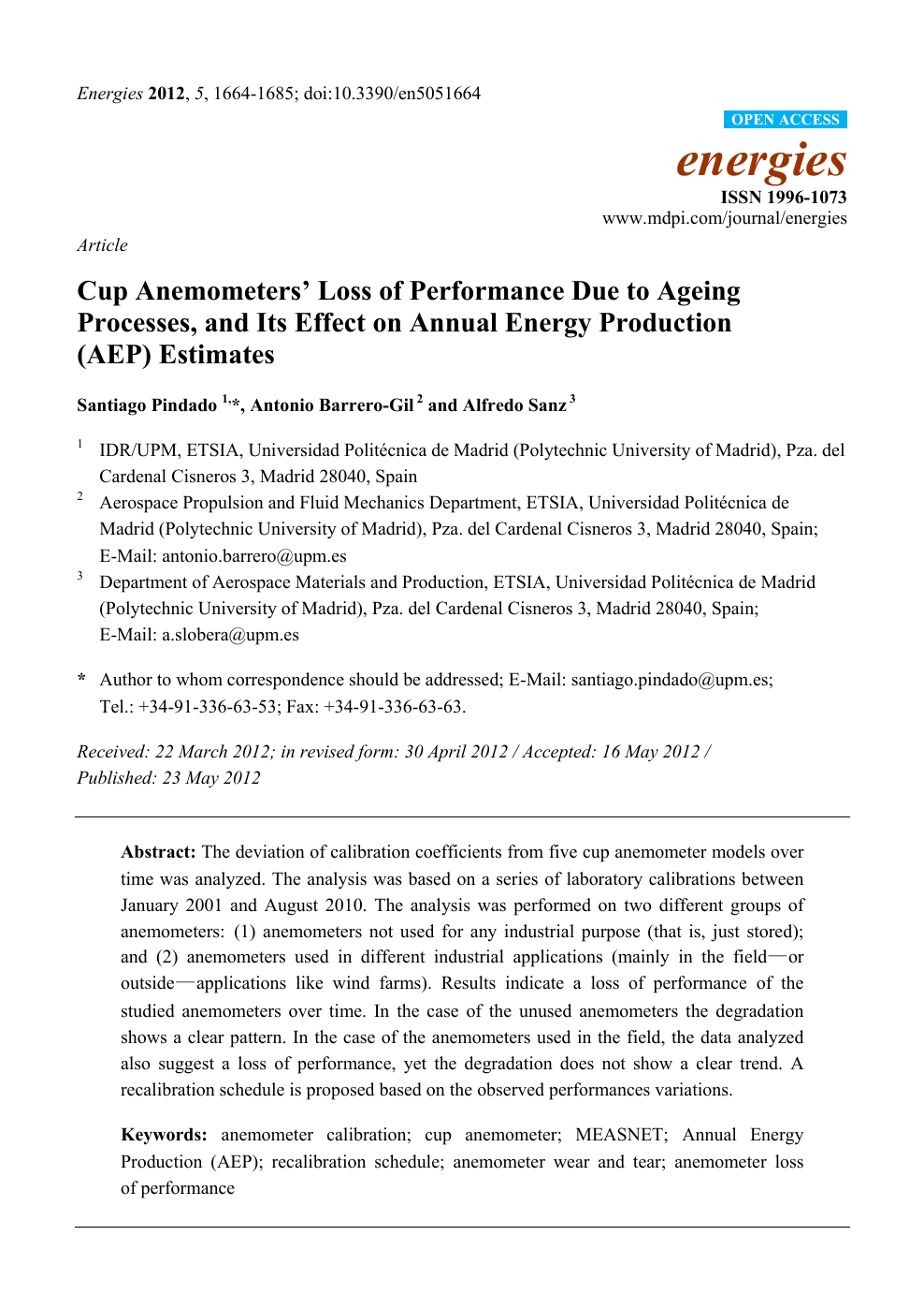 Cup Anemometers' Loss of Performance Due to Ageing Processes