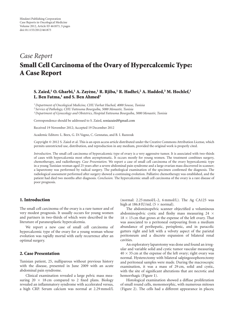 Small Cell Carcinoma Of The Ovary Of Hypercalcemic Type A Case Report Topic Of Research Paper In Clinical Medicine Download Scholarly Article Pdf And Read For Free On Cyberleninka Open Science
