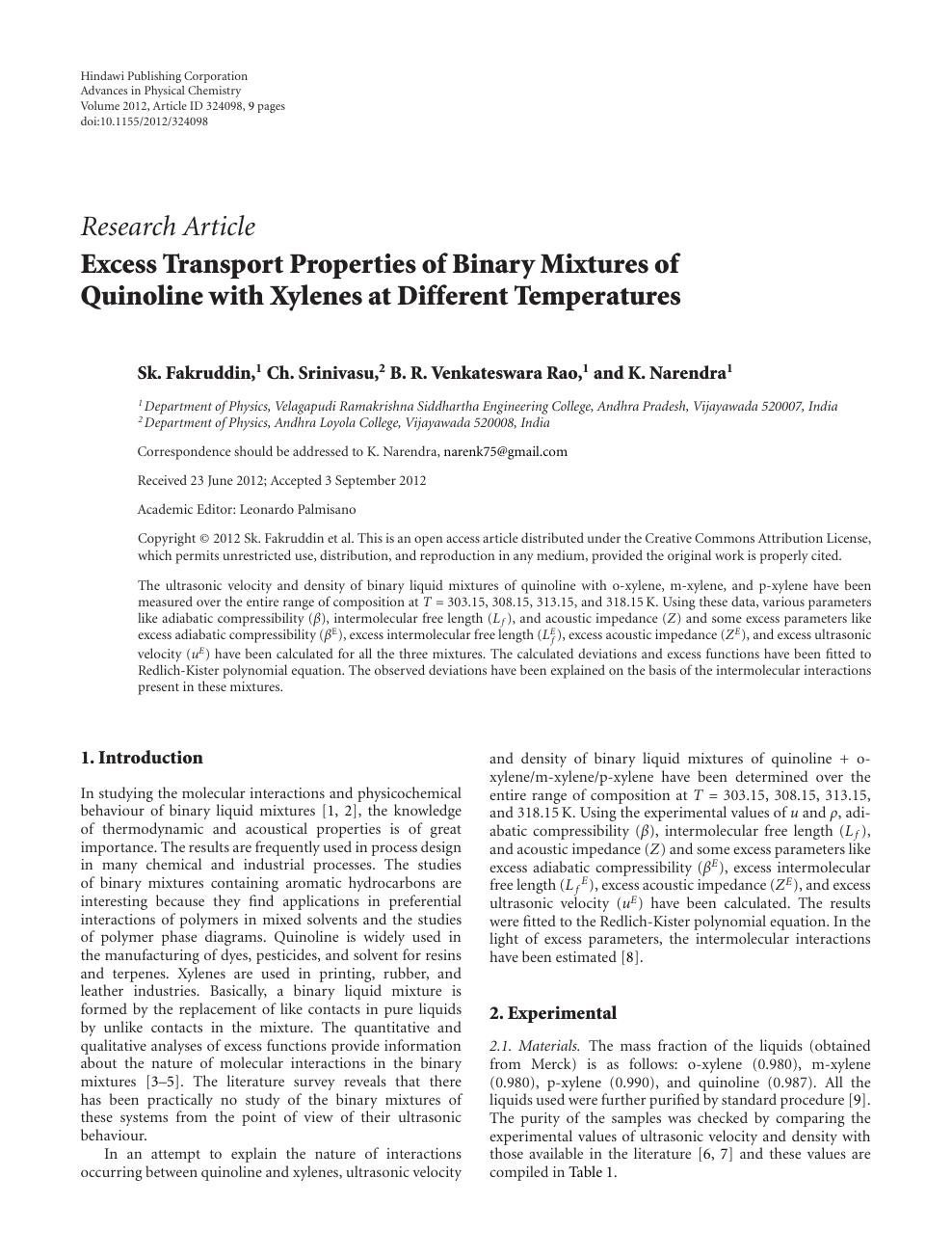 Excess Transport Properties of Binary Mixtures of Quinoline with