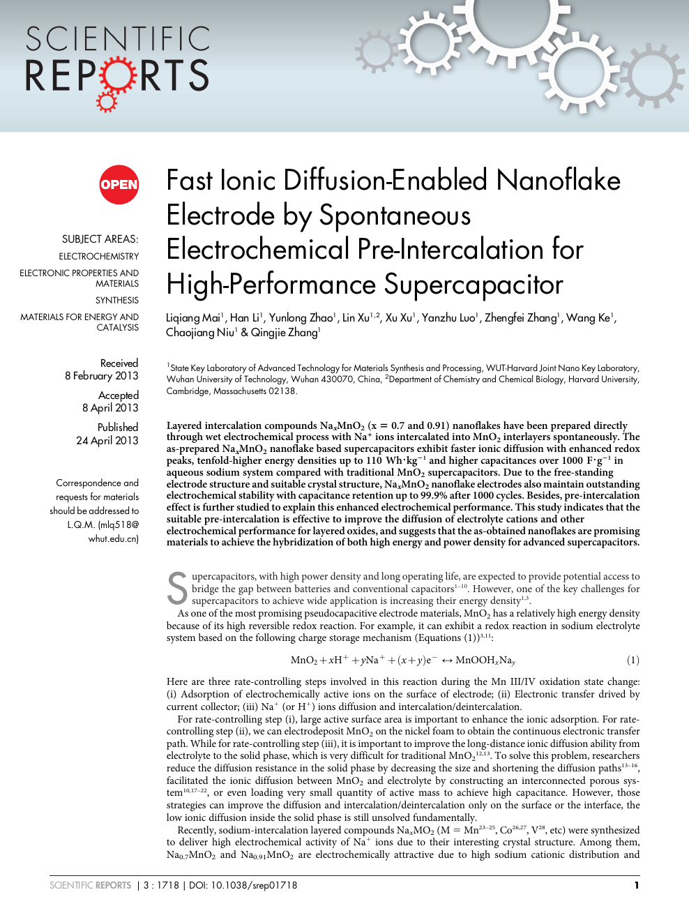 Fast Ionic Diffusion-Enabled Nanoflake Electrode by