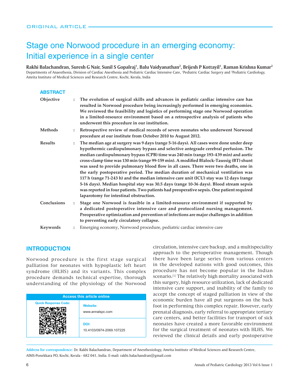Stage One Norwood Procedure In An Emerging Economy Initial Experience In A Single Center Topic Of Research Paper In Clinical Medicine Download Scholarly Article Pdf And Read For Free On Cyberleninka Open