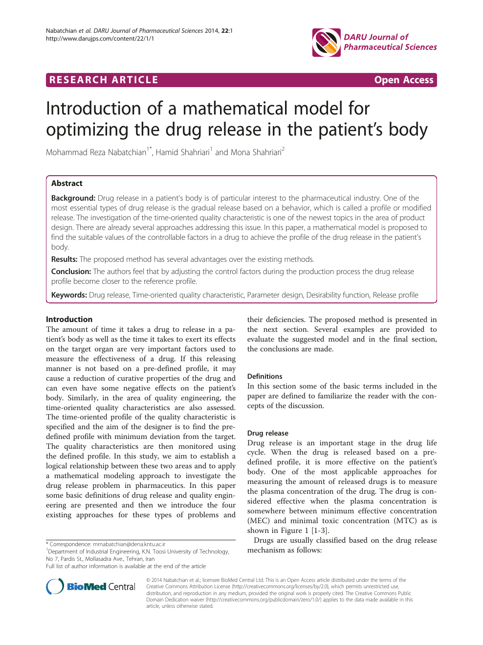 Introduction of a mathematical model for optimizing the drug