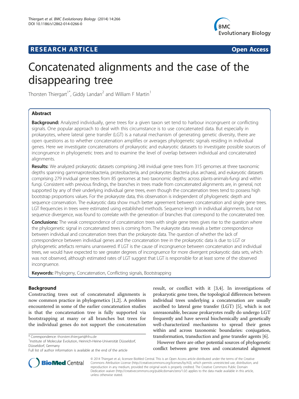 4c570c5ace7e01 Concatenated alignments and the case of the disappearing tree ...