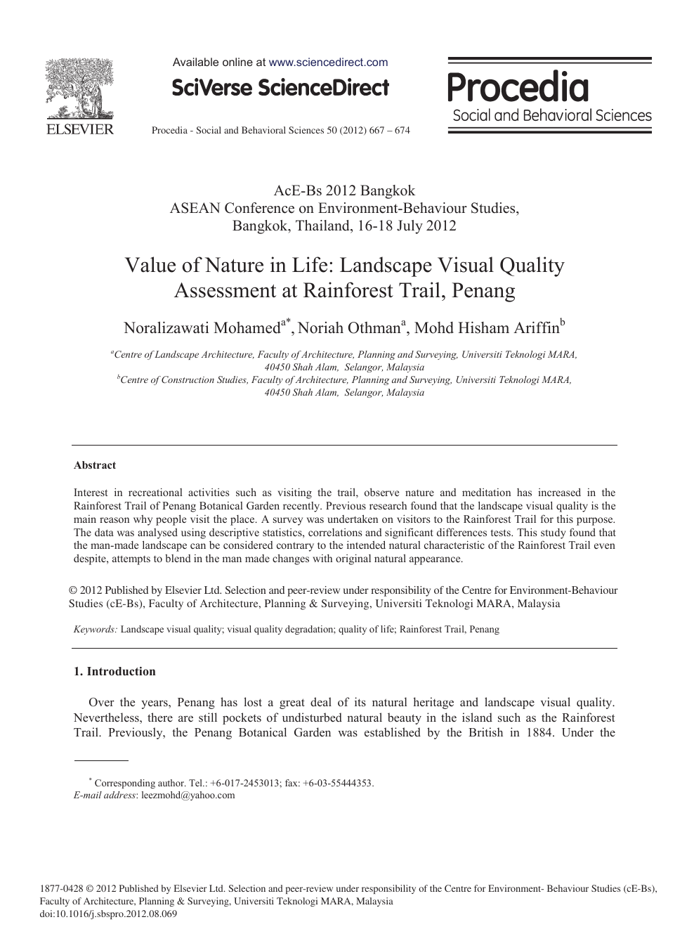 Value of Nature in Life: Landscape Visual Quality Assessment