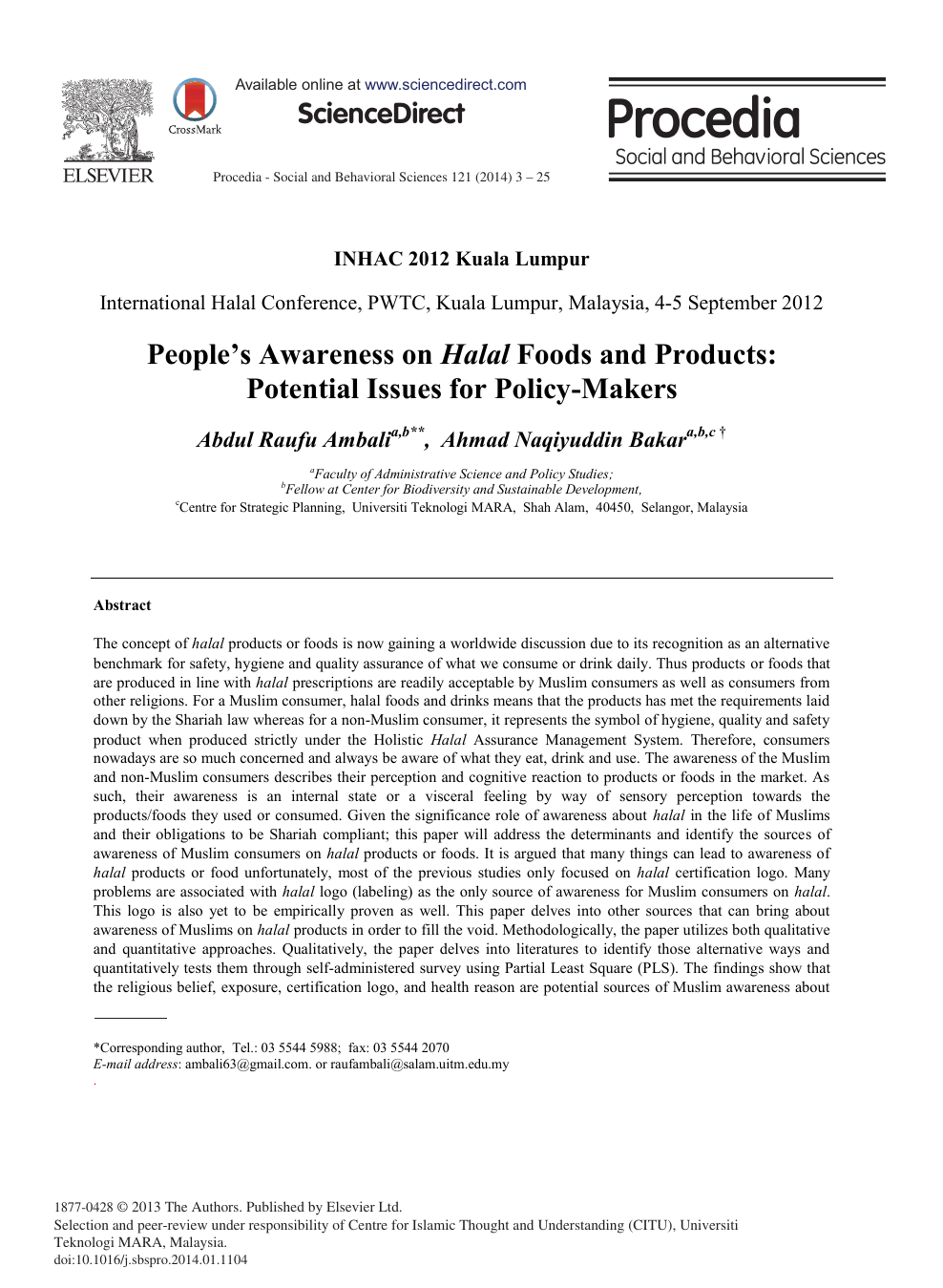 People's Awareness on Halal Foods and Products: Potential