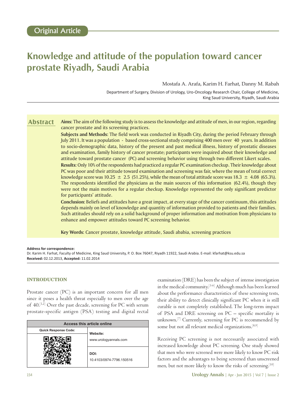 Knowledge and attitude of the population toward cancer