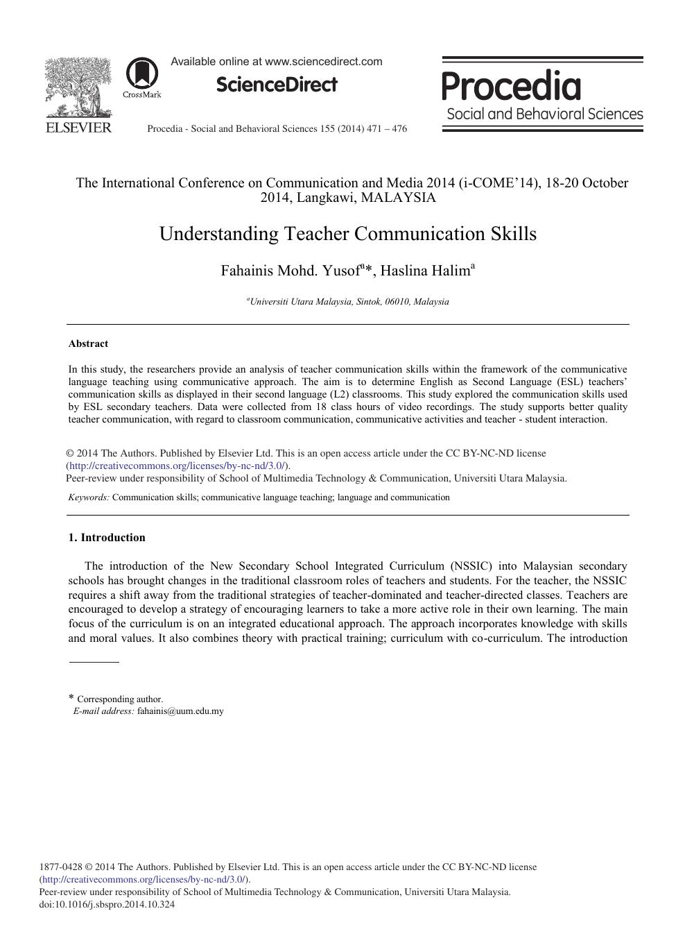 Understanding Teacher Communication Skills – topic of research paper