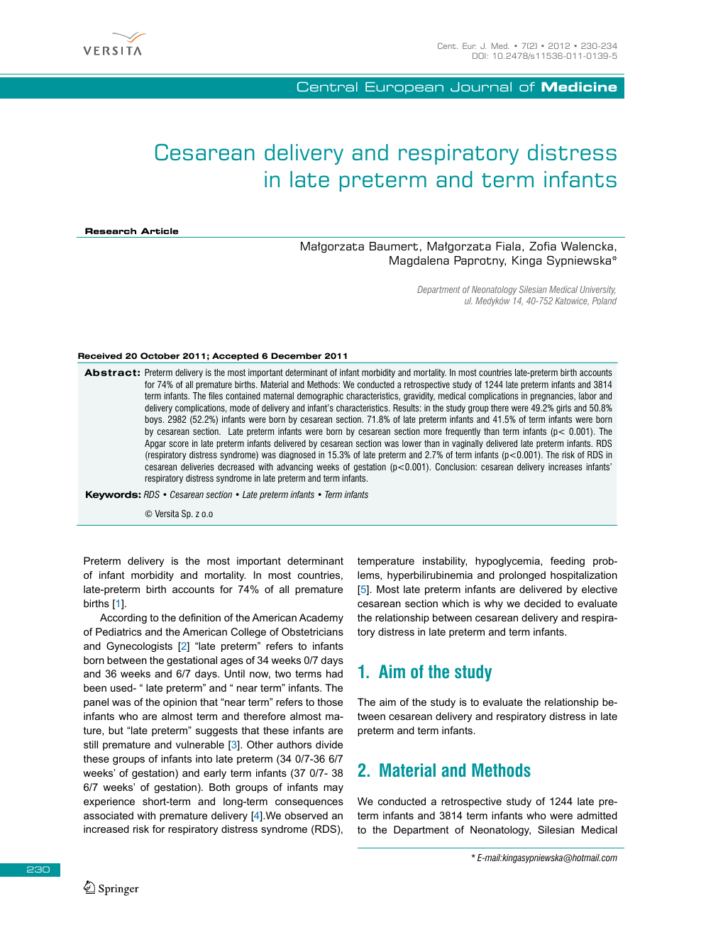 Cesarean delivery and respiratory distress in late preterm