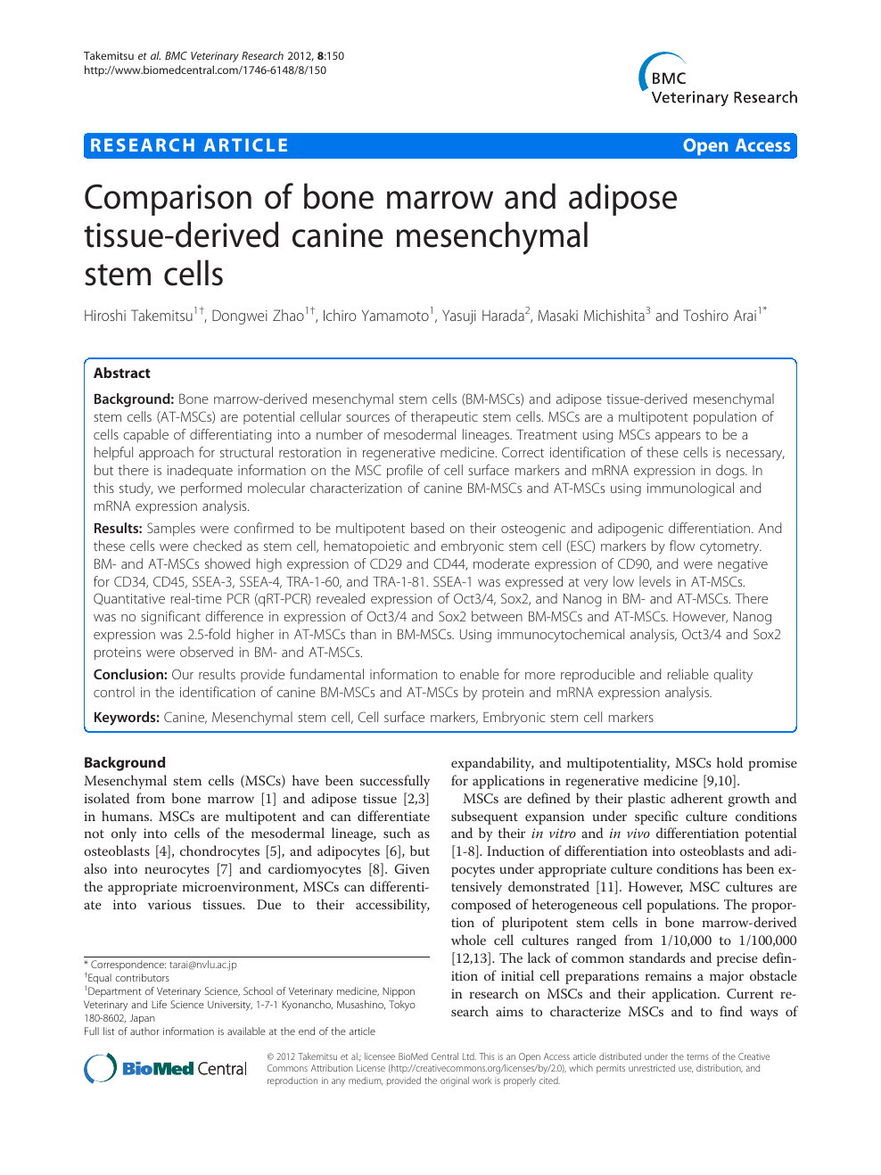 Comparison of bone marrow and adipose tissue-derived canine