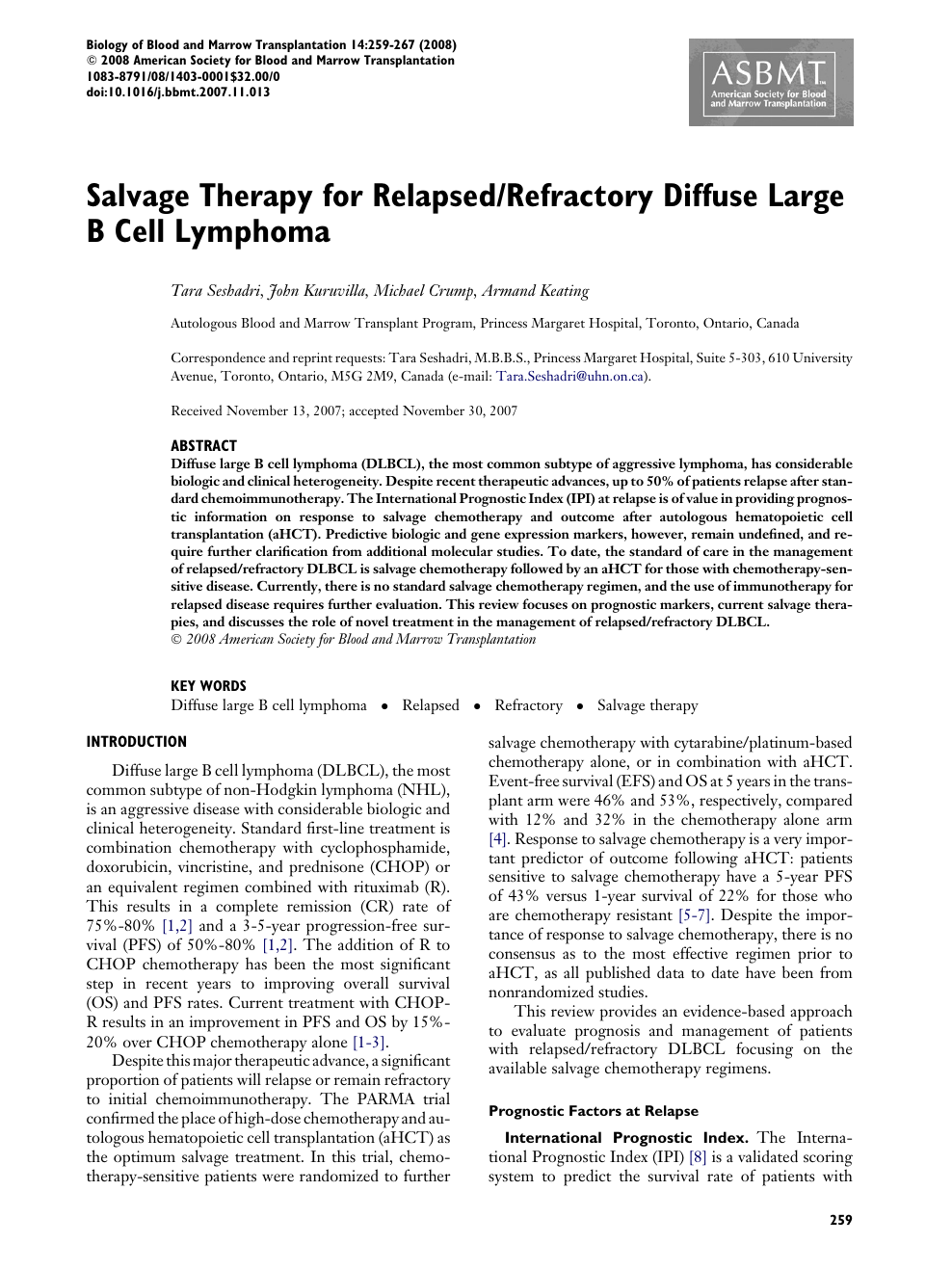 Salvage Therapy for Relapsed/Refractory Diffuse Large B Cell