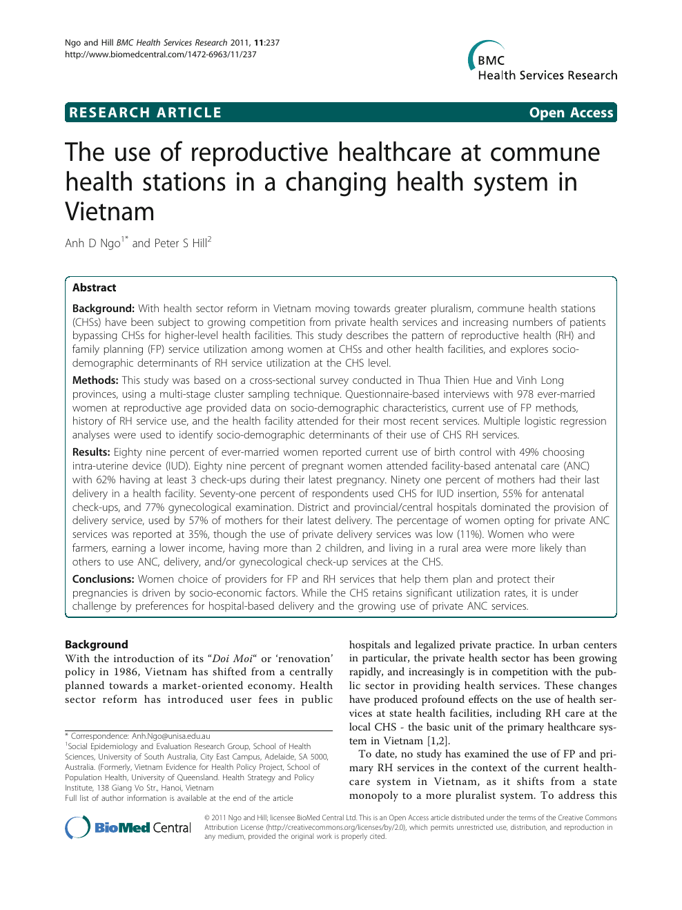 The use of reproductive healthcare at commune health