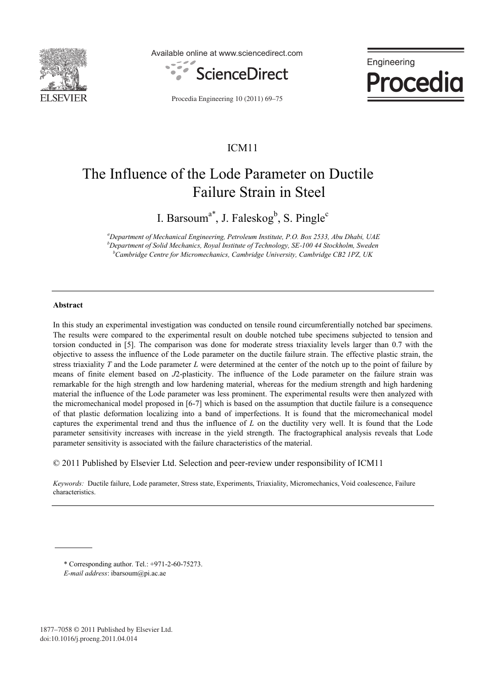 The Influence of the Lode Parameter on Ductile Failure Strain in