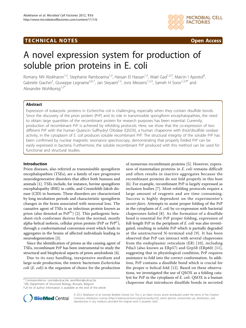 A novel expression system for production of soluble prion