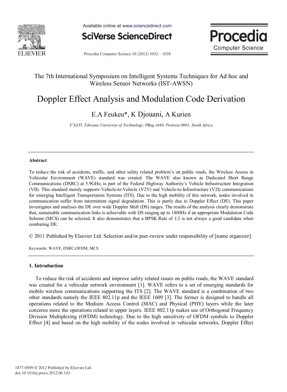 Doppler Effect Analysis and Modulation Code Derivation – topic of