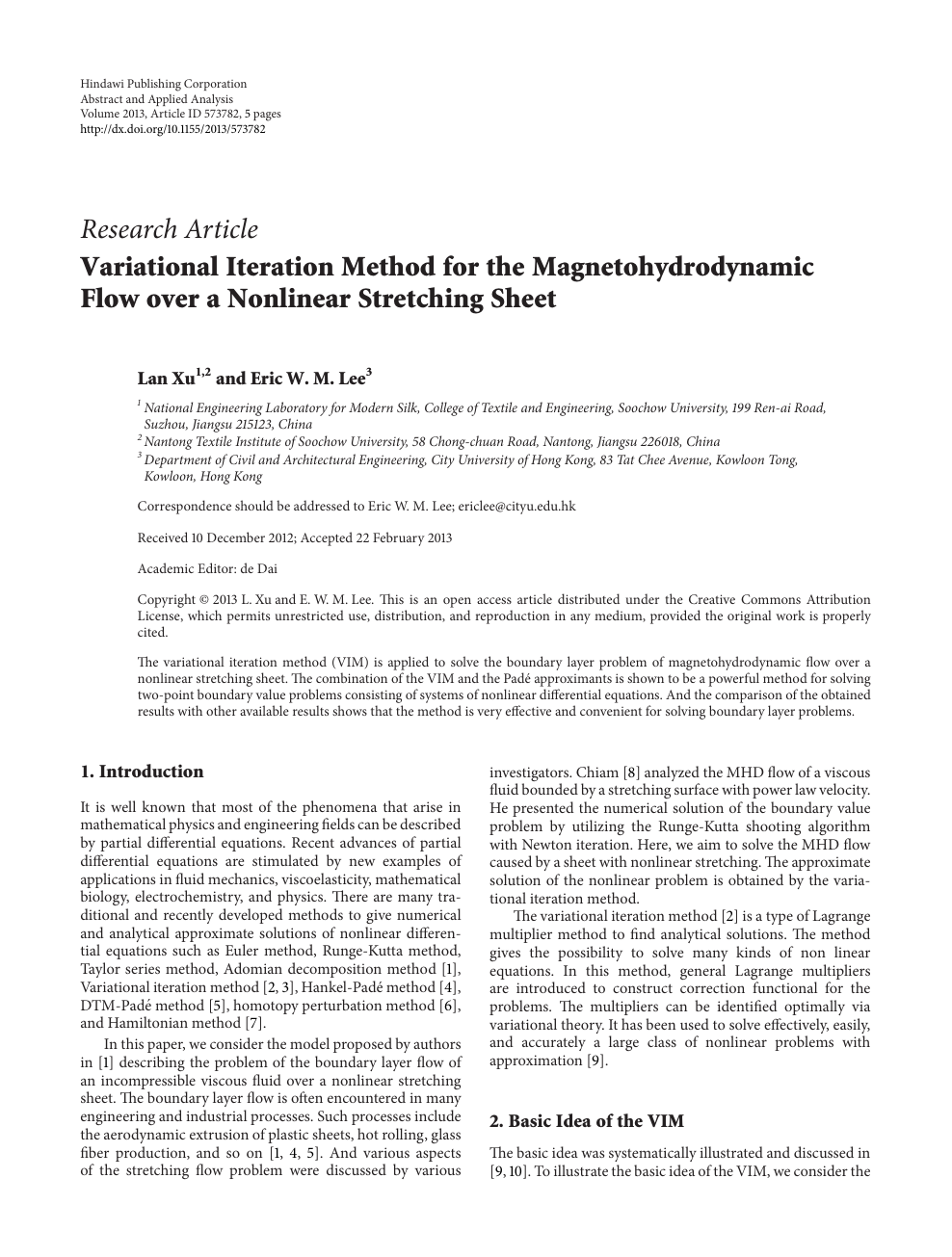 Variational Iteration Method for the Magnetohydrodynamic ...