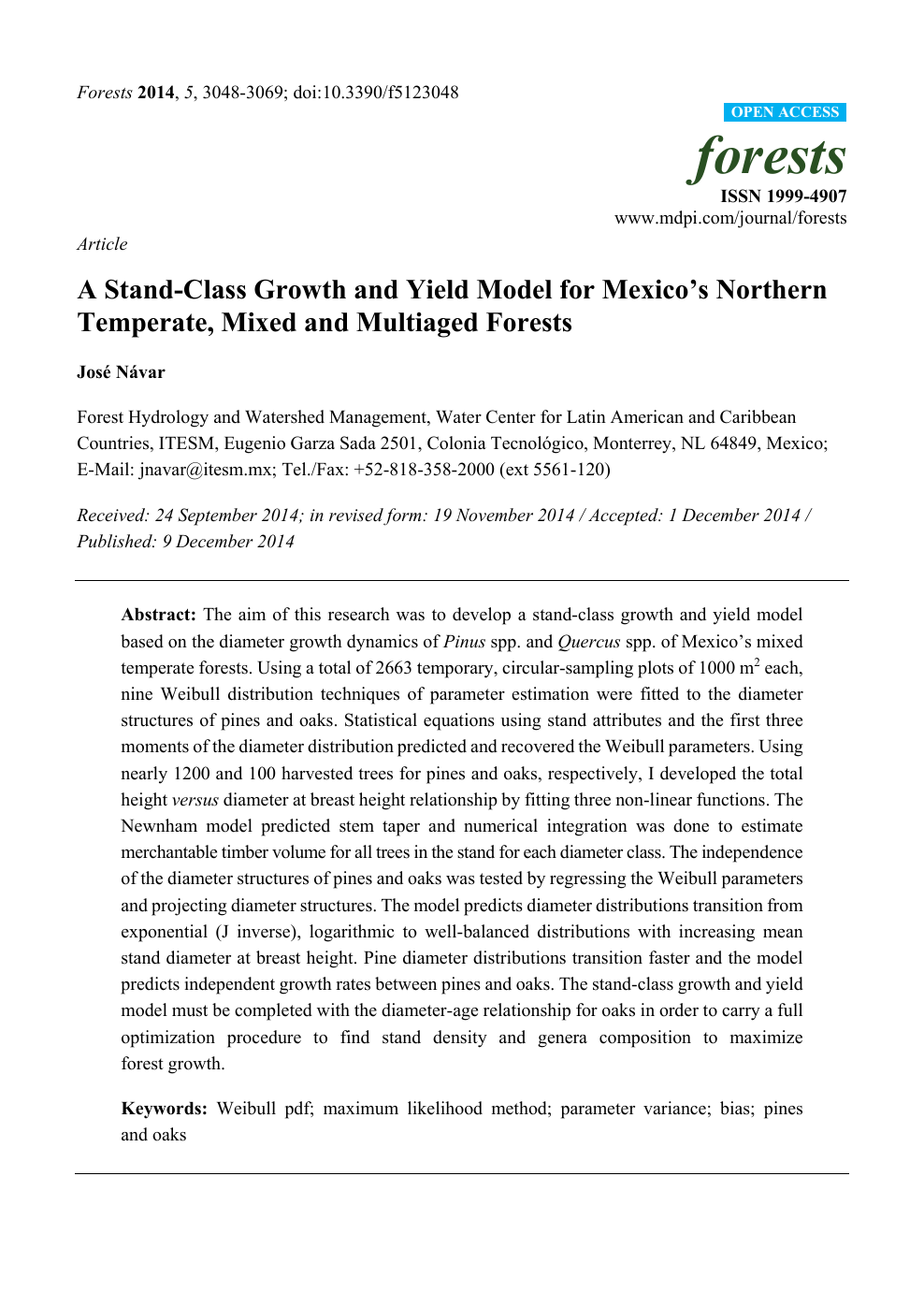 A Stand-Class Growth and Yield Model for Mexico's Northern
