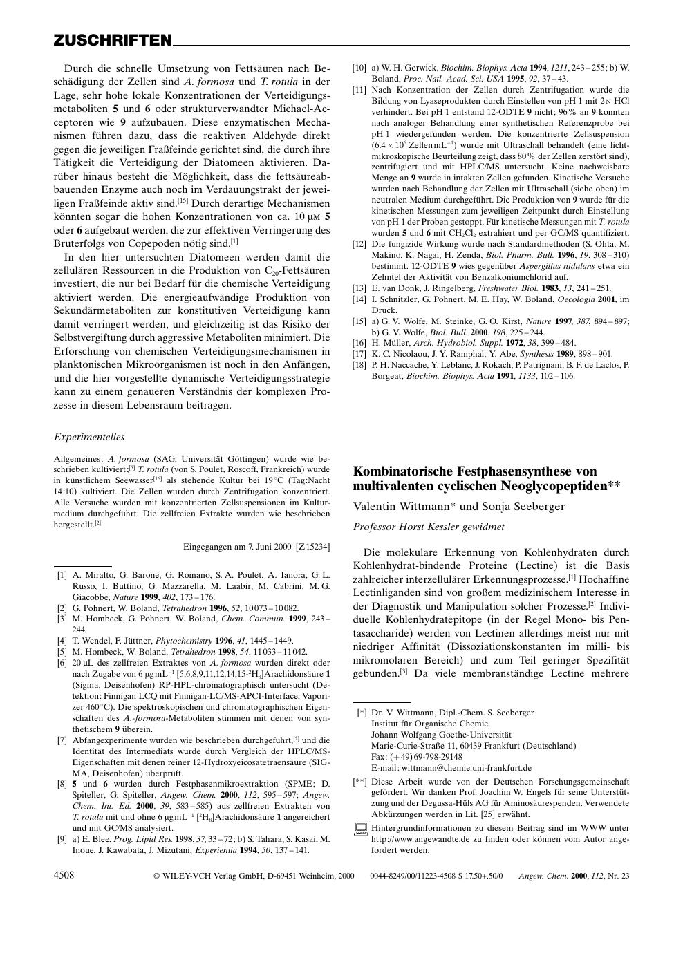 Kombinatorische Festphasensynthese Von Multivalenten