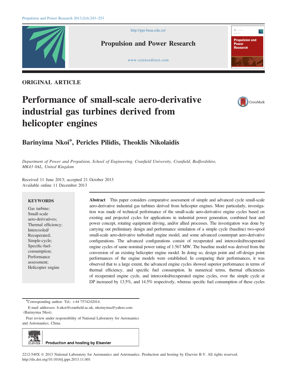 Performance of small-scale aero-derivative industrial gas