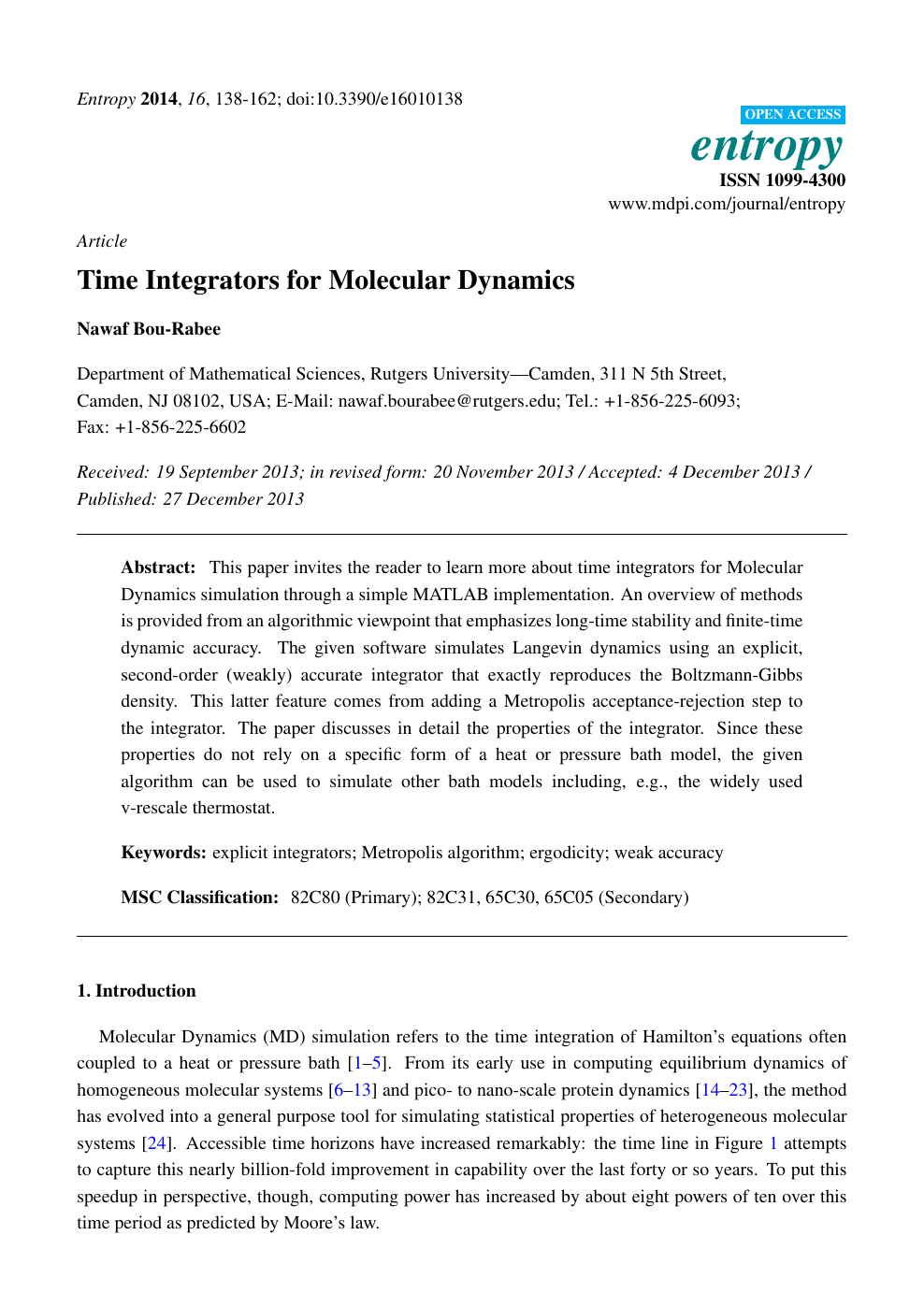 Time Integrators for Molecular Dynamics – topic of research paper in