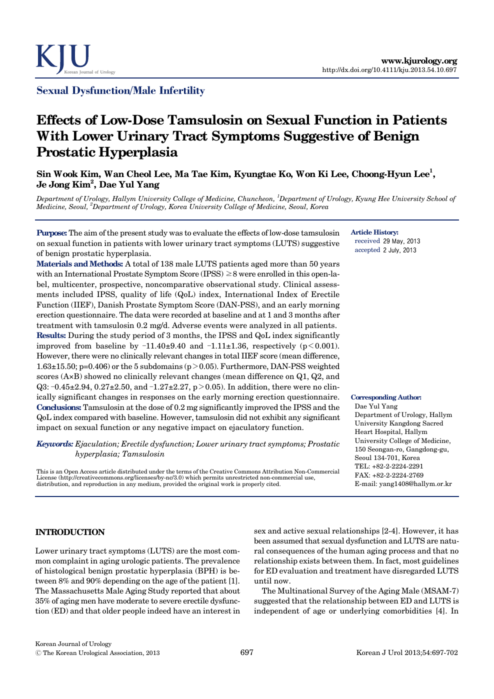 Effects of Low-Dose Tamsulosin on Sexual Function in