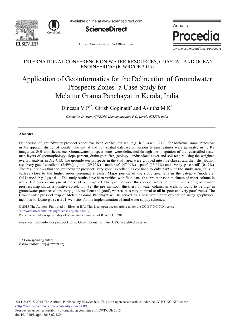 Application of Geoinformatics for the Delineation of Groundwater