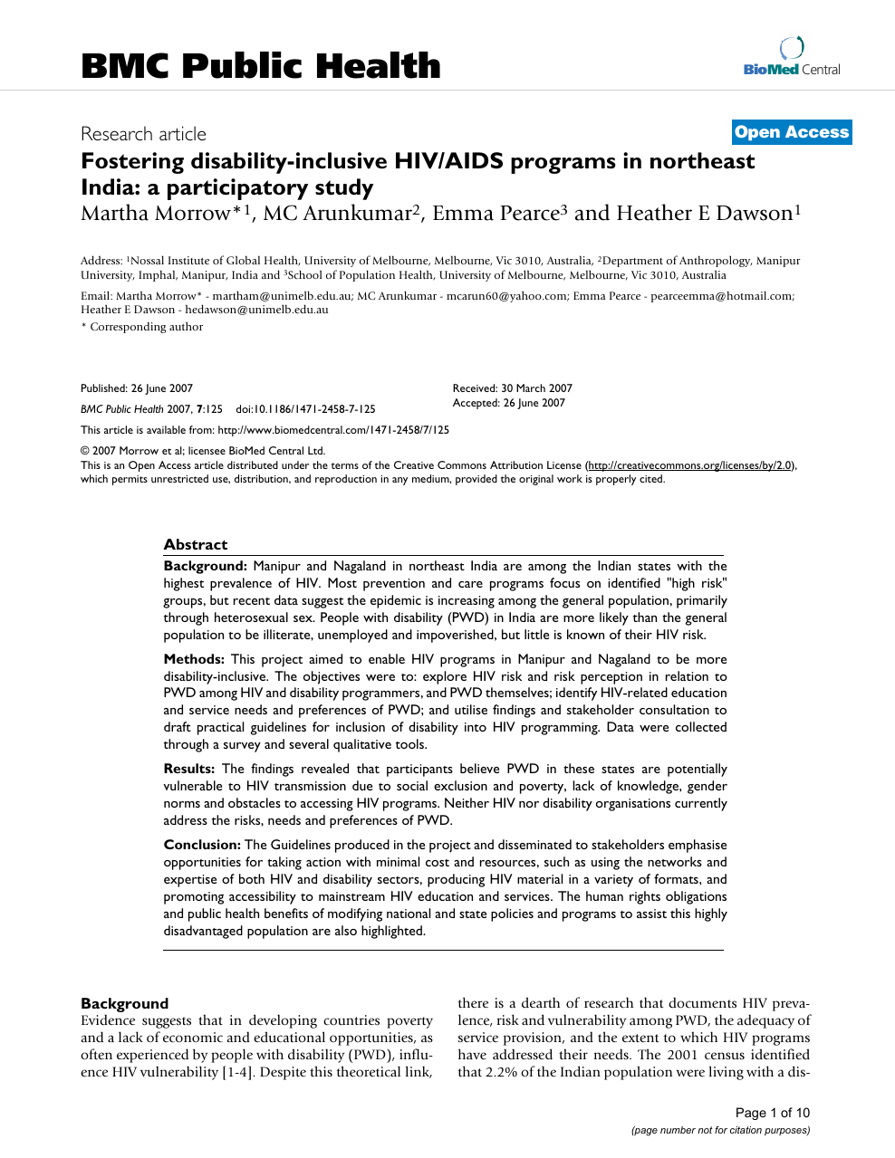 Fostering Disabilityinclusive Hivaids Programs In Northeast India  Read Paper