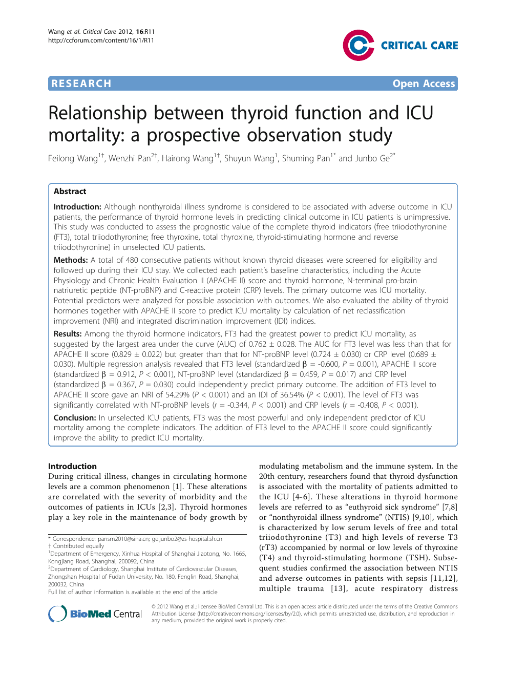 Relationship Between Thyroid Function And Icu Mortality A