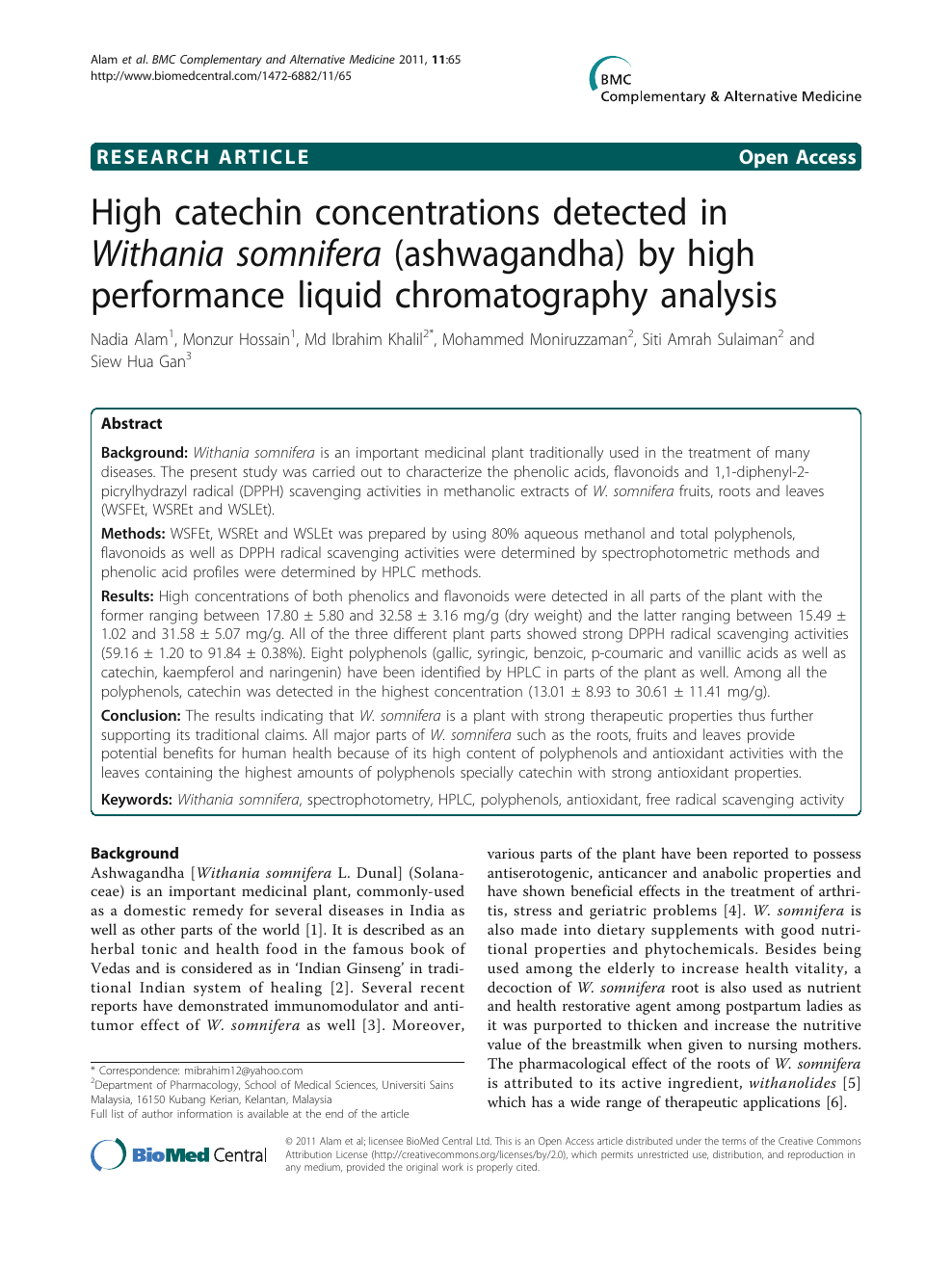 High catechin concentrations detected in Withania somnifera