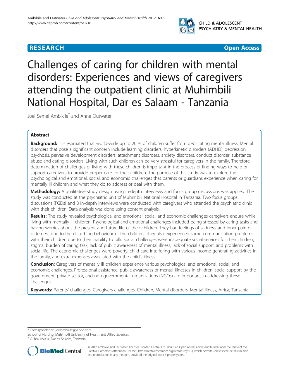 Challenges Of Caring For Children With Mental Disorders Experiences And Views Of Caregivers Attending The Outpatient Clinic At Muhimbili National Hospital Dar Es Salaam Tanzania Topic Of Research Paper In